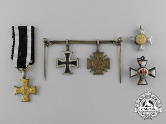 Five Miniature First War Prussian Medals & Awards