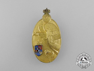 A Romanian Military Academy Graduate Badge; Gold Grade