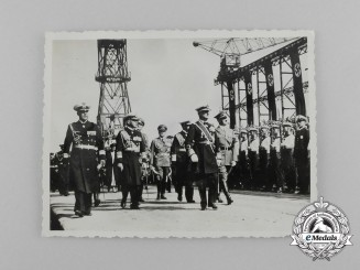An Unpublished Private Photograph of AH Reviewing Sailors at the Christening of Prinz Eugen