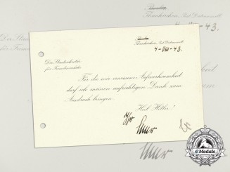 A 1943 Thank You Card from State Secretary of Tourism, Hermann Esser