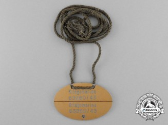 A Scarce Kriegsmarine Identification Tag on Original String Necklace