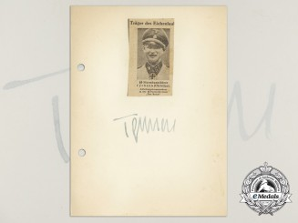 A Wartime Signed Daybook Page of SS-Sturmbannführer Christian Tychsen