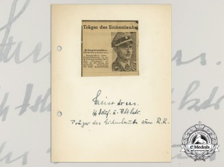 A Wartime Daybook Page Signed by SS-Hauptsturmführer Erwin Meierdrees