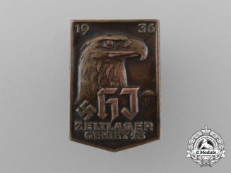 A 1936 HJ Area 15 Camping Event Badge by E. F. Wiedmann