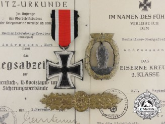 A Group of Awards with Documents to Ship Mechanic - Senior Lance Corporal Kurt Andreessen