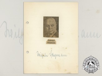 A Wartime Daybook Page Signed by SA-Obergruppenführer Wilhelm Schepmann