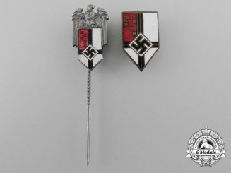 A Set of Two Honour of the Colonial Bund Stickpins and Badges