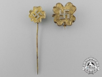 A Set of Two Lucky German Stickpins and Badges