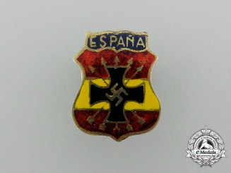 A Spanish Blue Division Button Hole Attachment Badge