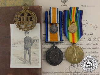 A First War Pair & Documents to the 3rd Canadian Infantry Battalion