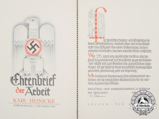 A 1934 Chamber of Industry Honorary Award of Labour to Ruhr Steel Inc.