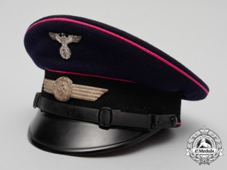 A Rare Mint Luftwaffe NCO's Civil Fire Brigade Visor Cap by Carl Halfar