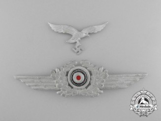A Luftwaffe Visor Wreath with Cockade and Visor Eagle