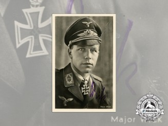 A Wartime Picture Postcard Signed by Fighter Ace Major Helmut Wick
