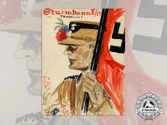 A Large & Fine Artist's Rendition of an SA-Member of the Sturmbann II/13 Tempelhof
