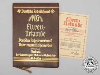 A Leather Bound German Labour Front Membership Award Document
