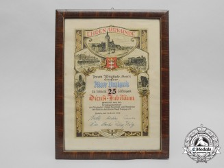 A 1938 Honourary Award for 25-Year Long Employment to the Danzig Train Service Conductor