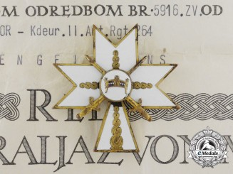 An Order of King Zvonimir with 1945 Documents to Wehrmacht Recipient