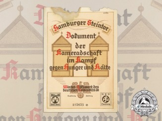A 1936 Certificate of Winter Relief Hamburg Welfare Program