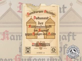 Germany, Third Reich. A 1936 Certificate of Winter Relief Hamburg Welfare Program