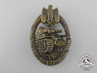 An Early Panzer Badge; Bronze Grade by Hermann Wernstein