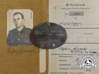 An SS Soldbuch & ID Tag to Hungarian in the 22nd SS Volunteer Cavalry Division