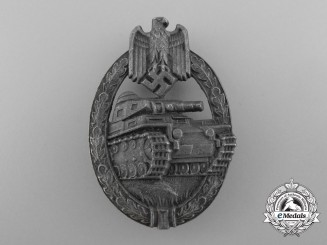 A Panzer Badge; Silver Grade by Hermann Aurich Co.