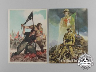 A Pair of Second War Italian Propaganda Postcards