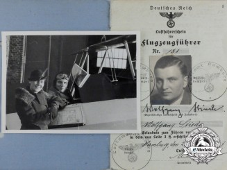 A Civilian Aeroplane Stunt Licence Belonging to Wolfgang Stieda with Photograph