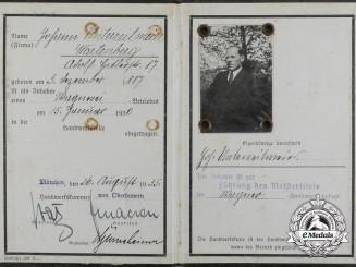 An Interesting ID Booklet of Johann Unterreitmeier; Owner of a Wheelwright's Factory