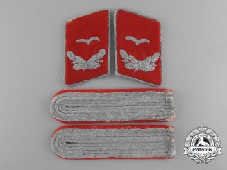 A Complete Matching Set of Flak/Artillery Leutnant's Shoulder Boards and Collar Tabs