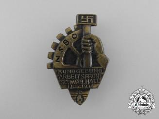 A 1934 NSBO Schwäbische Hall Arbeitsfront Rally Badge