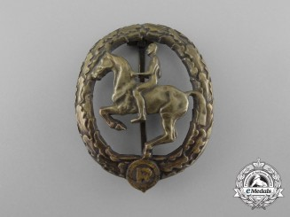A German Bronze Grade Horseman's Badge by L. Chr. Lauer