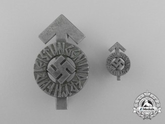 Germany, HJ. A Proficiency Badge, Silver Grade, by Zimmermann, with Miniature
