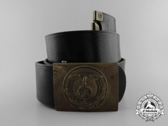 A Scarce Early Pattern SA Enlisted Buckle with Matching Leather Belt