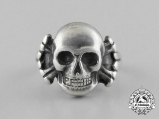 A High Quality Third Reich Period Silver Skull and Bones Ring