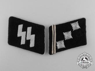 A Fine & Mint Set of Waffen-SS Obersturmführer's Collar Tabs; SS RZM Tagged