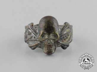 A Third Reich Period Silver Skull and Bones Ring