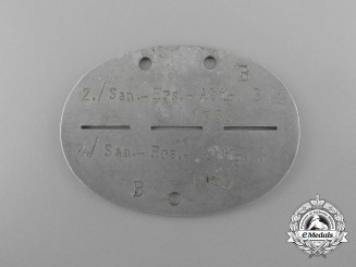 A Third Reich Period Medical Personnel Replacement Battalion 3 Identification Tag