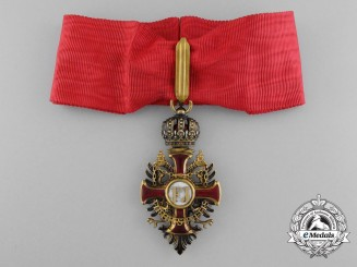 An Austrian Order of Franz Joseph in Gold; Commander's Neck Cross by V. Mayer; Circa 1900