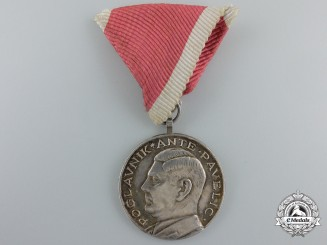"A Croatian ""Ante Pavelic"" Bravery Medal; Silver Grade"