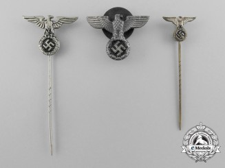 A Lot of Three Third Reich Period NSDAP Supporter's Badges and Stick Pins