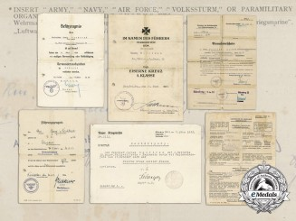 A Fine Collection of Documents Awarded to Luftwaffe Paratrooper Georg Nachtrab