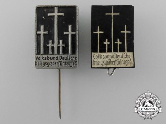 A Set of Two German War Graves Commission Donation Stickpins and Badges