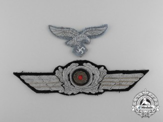 A Luftwaffe Officer's Visor Cap Wreath and Eagle