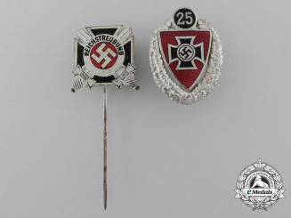 A Set of Two Third Reich Period Veteran's Stickpins and Badges