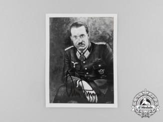 A Signed Picture of Knight's Cross Recipient Adolf Galland with his Business Card