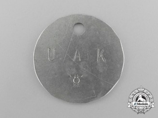 "A Scarce ""Acceptance Authority of the Kriegsmarine for Submarines"" Identification Tag; Numbered"