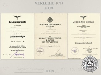 Three Award Documents Signed by Generalleutnant of the Luftwaffe Gustav Wilke