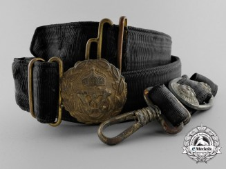 A Imperial German Navy (Kaiserliche Marine) Officer's Daily Service Belt with Dagger Hangers